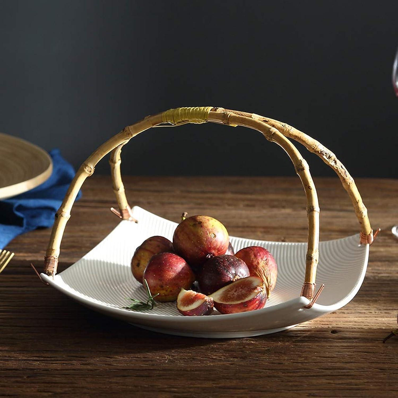 Corbeille de fruits Bol de Fruits, Porcelaine Corbeille à Fruits Fruits Rack Candy Disque Style Nordique Bols à Tapas Présentoirs à Gateau Assiette de fruits