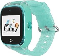 Reloj con GPS para niños SaveFamily Superior acuático con cámara Verde Glitter. Smartwatch con botón SOS, Permite Llamadas y Mensajes. Resistente al Agua Ip67. App Propia SaveFamily. Incluye Cargador