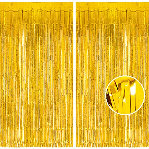 Glänzende Gold Metallic Lametta Folie Fransen Vorhänge, Sparkle Metallic Photo Booth Hintergrund Lametta Tür Vorhänge Für Weihnachten Geburtstagsfeier Hochzeit Disco Deco (2 Stück, 1 x 2,5 m)