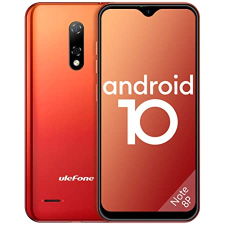 Ulefone Note 8P, Mobile Phone SIM Free Unlocked, 4G Android 10 Smartphones, 2GB RAM 16GB ROM SD 128GB, 5.5 Inch Waterdrop Full-Screen, Triple Card Slots, Dual Cameras, Face ID- Amber Sunrise