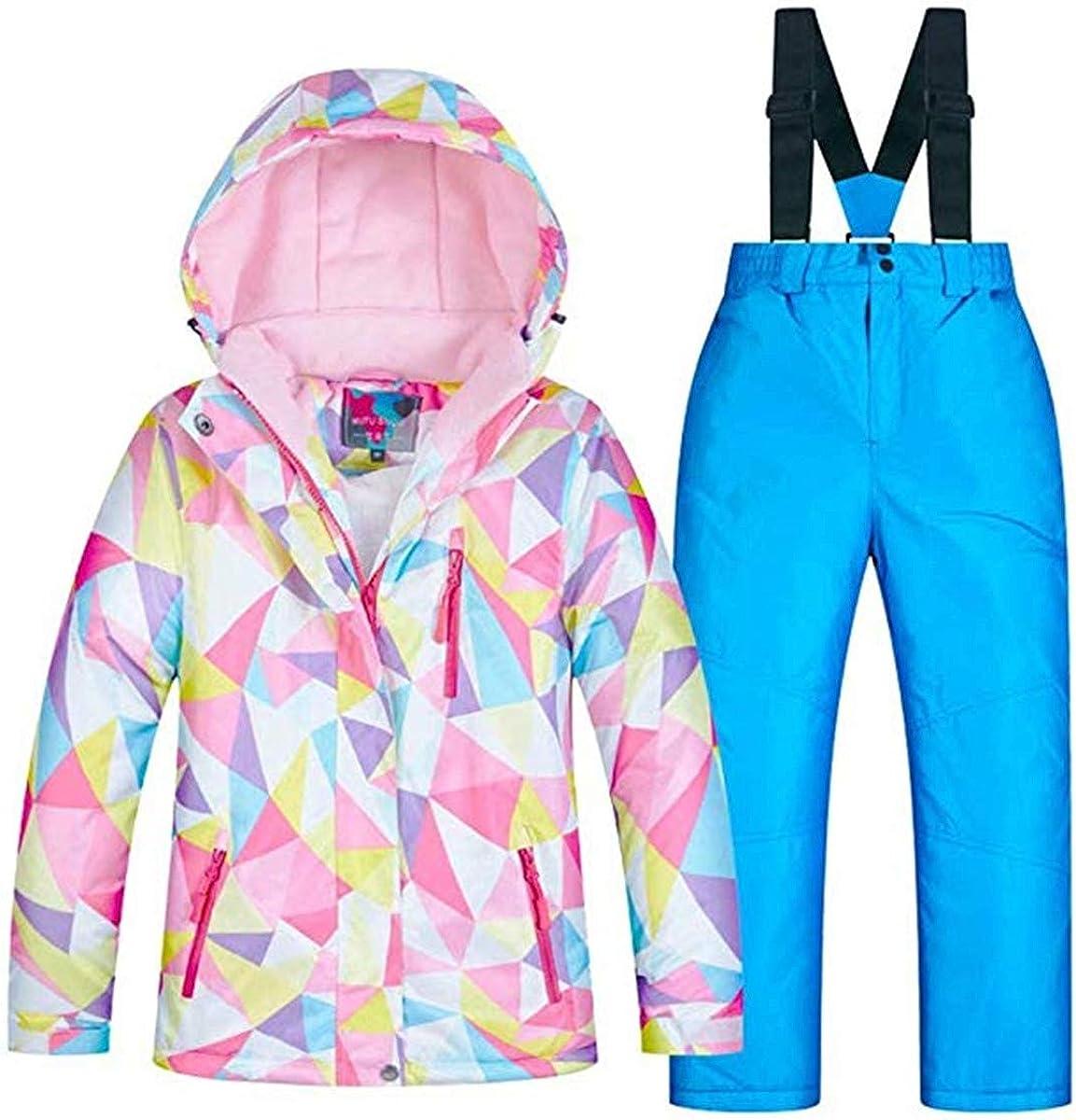 Little Girl's Outdoor Mountain Waterproof Windproof Ski Jacket Insulated Snowboarding Coatand Pants Snowsuit Set