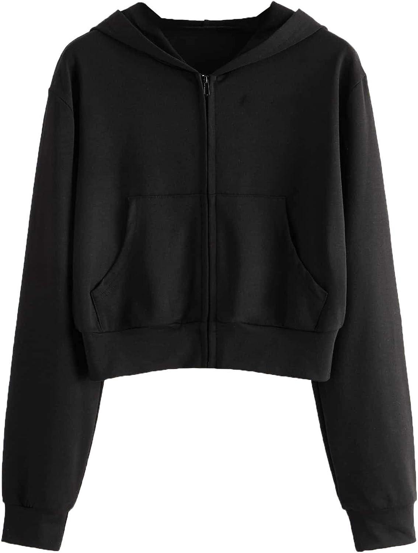 Verdusa Women's Zip Up Outerwear Long Sleeve Crop Top Hooded Sweatshirt