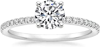 1 Ct Halo Solitaire Cubic Zirconia Promise Engagement Ring 925 Sterling Silver Ring Sizes 3.5 4 5 6 7 8 9 9.5