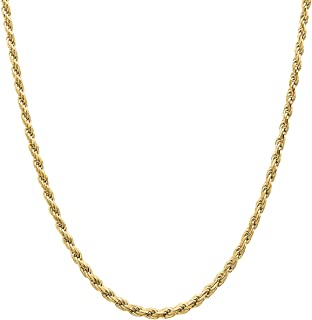 Orostar Sterling Silver 3MM Diamond-Cut Rope Chain Necklace Italian - Silver, Gold Color, 15-30 Inch - Made in Italy