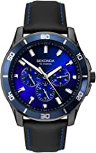 Sekonda, Men's Contemporary Midnight Blue Analog Quartz Watch, Multifunction Chronograph, Gun Metal Plated case with Blue Sunray dial with batons, Day, Date, 24 hr on Black Leather Strap