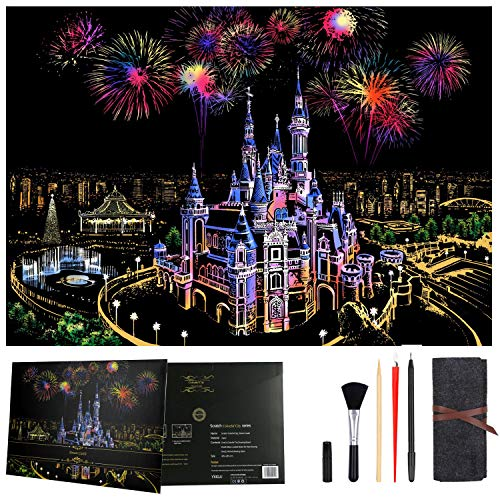 DOSBOO Scratch Art Pape for Kids & Adults Rainbow Night View Scratchboard Engraving Art & Craft Set with 5 Pcs Scratching Tools Scratch Painting Creative Gift