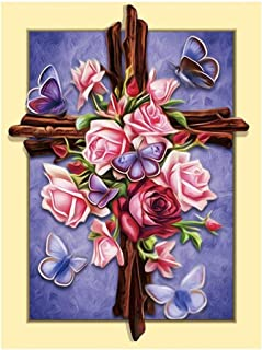 Rose Cross Religion Diamond Painting - PigBoss Full Drill 5D Diamond Painting Art Cross Diamond Embroidery Cross Stitch Kits Christmas Gift Mosaic Pattern (13.8 x 17.8 inch) (A : L1250)