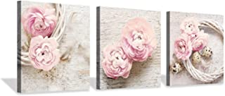 Floral Picture Canvas Wall Art: Innocence Pink Peony Flower Wreath Photographic Prints for Decor