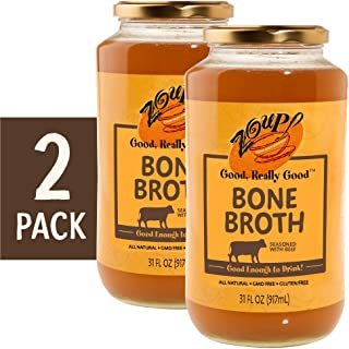 Beef Bone Broth by Zoup! Keto-Friendly, Gluten Free, Sugar Free Clear Broth - Great for Stock, Bouillon, Soup Base or to Drink - 2 Pack (31 oz)
