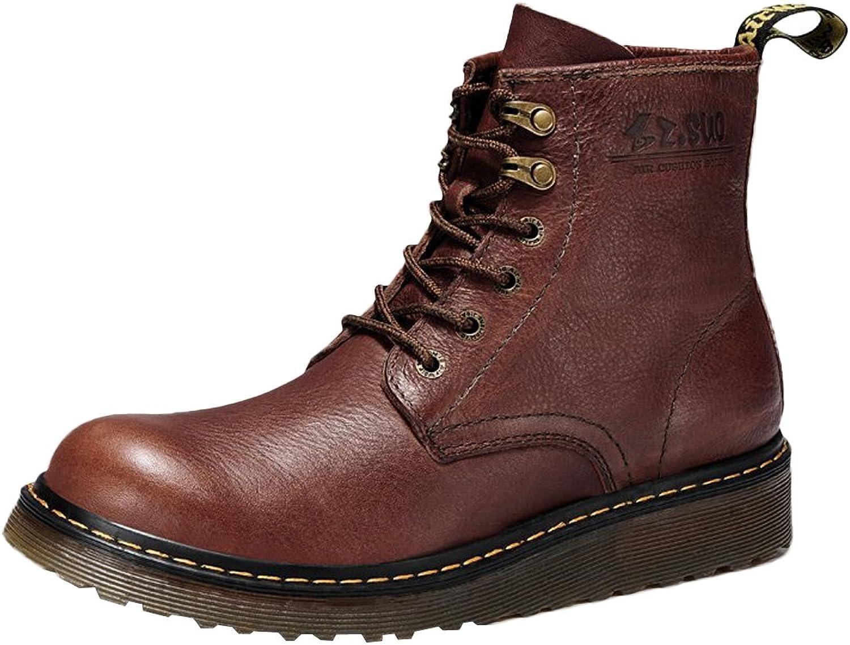 Insun Men's Cowhide Leather Zipper Side Work Boots