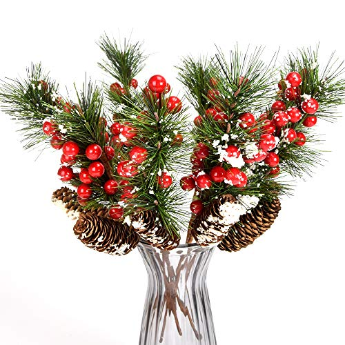 YSBER 8 Pieces -15 Inch Artificial Berries Branch Plastic Fake Flowers –Snow Flocked Red Holly Berry Pine Cone for DIY Christmas Crafts Party Festive Home Décor
