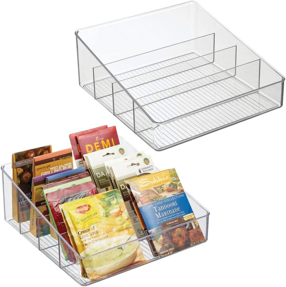 mDesign Plastic Food Packet Organizer Bin Free shipping anywhere in the nation 4 New sales Divided - Sect Caddy