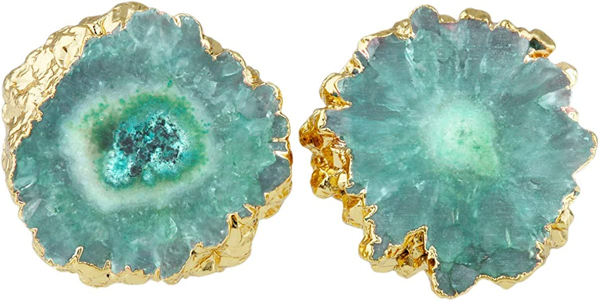 SUNYIK Women's Natural Agate Quartz Geode Druzy Stud Earrings for Women