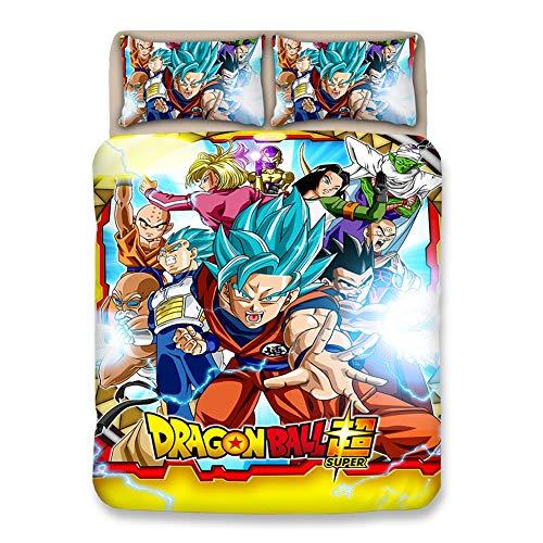Q-DDOIT@ Juego De Funda Nórdica De Estilo De Anime, Juego De Cama 3pcs Dragon Ball Super Saiyan Goku Impreso con Cierre De Cremallera,A,Queen