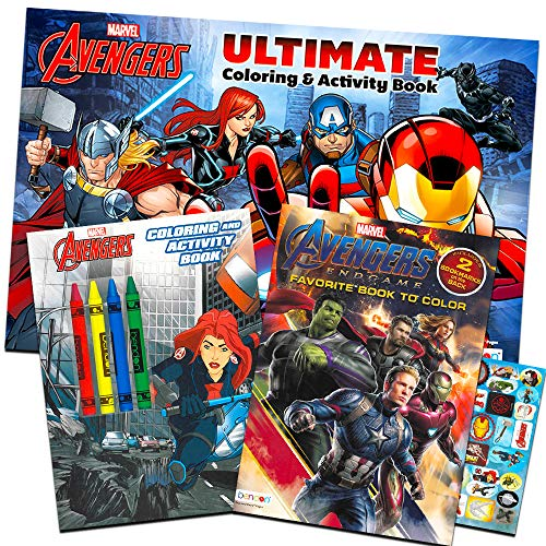 Marvel Avengers Coloring Book Super Set with Crayons (3 Jumbo Books Featuring Captain America, Thor, Hulk, Iron Man and More!)