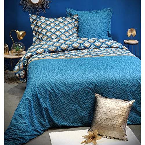 J&K Markets Housse de Couette Erwan, Art déco, Bleu Pétrole, 240x260cm, 2 Personnes, 100% Coton, Qualité Supérieure