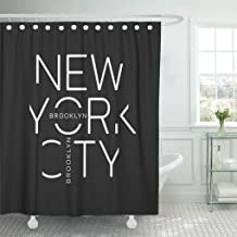 Jszna Shower Curtain Black Tee of New York City Brooklyn Linear Graphics Shower Curtains Sets with 12 Hooks 72 x 72 Inches Waterproof Polyester Fabric