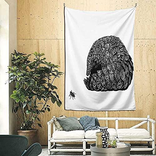 Ilustración de pangolín 3d Boutique tapiz de pared decorativo Pop Art Retro micro microfibra decoración del hogar 90in * 60in