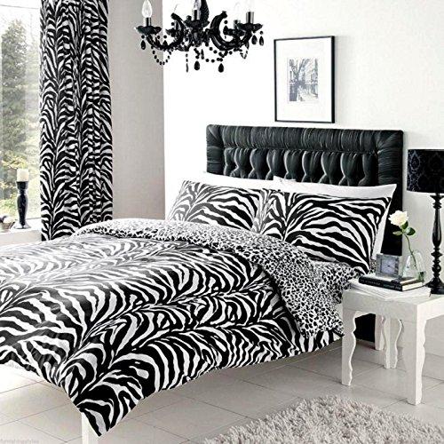 Quest-Mart Black & White Zebra Print Duvet Cover+Pillow Case Or Complete Bedding Set (Single)
