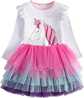 DXTON Girl Winter Dress for Toddler Tutu Dresses Long Sleeve Outfits 2-8T