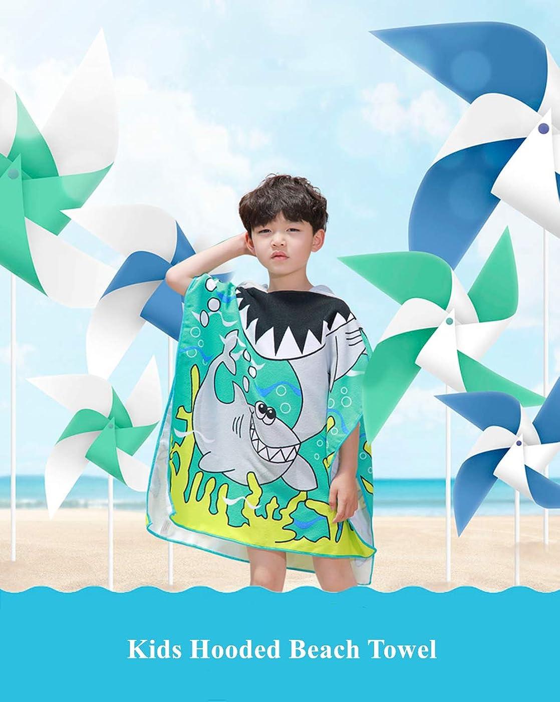 誕生失望壊すLuckyhappykidsフード付きポンチョバスタオル 男の子と女の子用 かわいいビーチプール水泳カバー 幼児 子供用