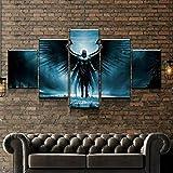 WANGZUO ImpresióN HD Pintura 5 Piezas Ángel Caído Oscuro Cuadro En Lienzo, Cuadros Modernos SalóN Decoracion De Pared Canvas Prints, Wall Art Modular Poster Mural Decorativo/150x80CM