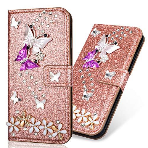 Feather Butterfly Motif Dragonne Stand Bookstyle Folio PU Cuir Flip Magnétique Cartes Slot Ultra Mince Luxe Bling Glitter Sparkle Éclatant Strass Diamant Housse Coque pour Samsung A7 2018