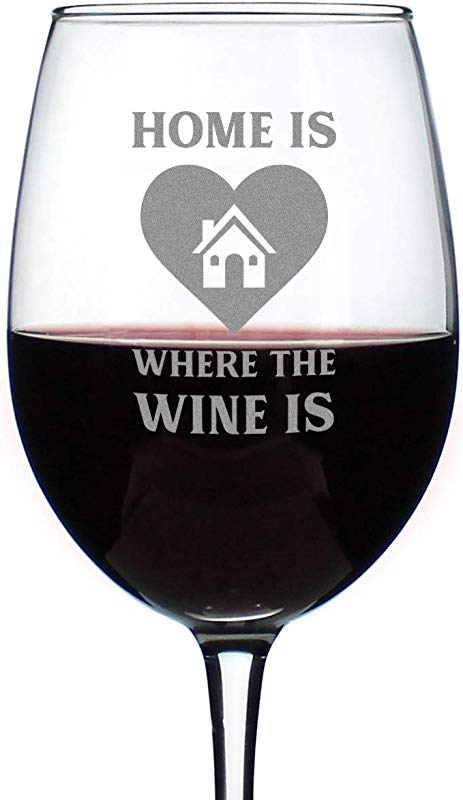 Home Is Where The Wine Is Cute Housewarming Wine Glass Large 16 5 Oz Etched Sayings Gift Box