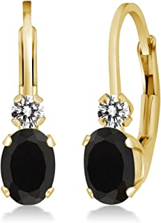 cb42cda6e 0.85 Ct Oval Black Onyx White Diamond 14K Yellow Gold Earrings