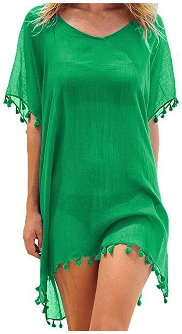 Womens Swimsuit Cover Ups Swimwear Bathing Suits Summer Mini Dress Loose Solid Pareo Sun Protection Clothing (Green)