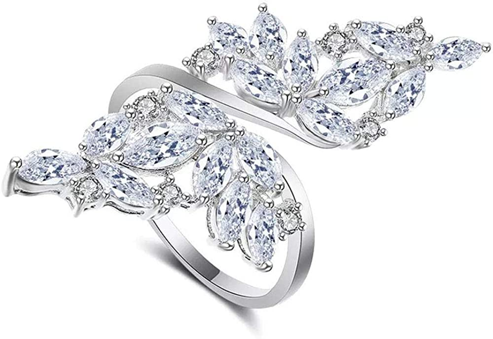 AAA Cubic Zirconia Max 85% OFF Platinum 70% OFF Outlet Plated Sparkly 0pen Adjustable Ring