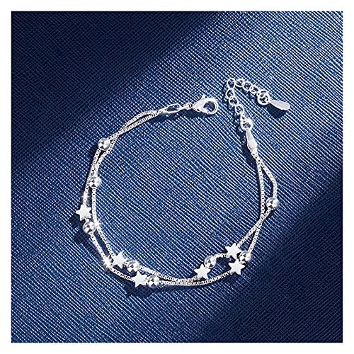 feichang Pulsera de doble capa de plata de ley con perlas de estrellas y banglefor para mujer, elegante caja de joyería para boda