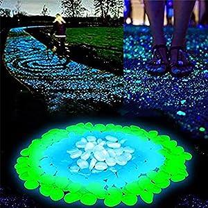 surgicalonline Garden Decorative Stones Glow in The Dark Luminous Pebbles for Walkways Plants Aquarium Decor, Glowing Pebbles Powered Fish Tank Garden Decoration (300pcs ) (White)