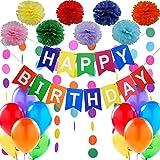 """Decoraciones Cumpleaños – 1 Bandera Banderines Feliz Cumpleaños """"Happy Birthday"""" + 8 Pompon Bola de Flor + 2 Guirnaldas Arco de Iris de 3 metros + 12 Globos Perlados Multicolor"""