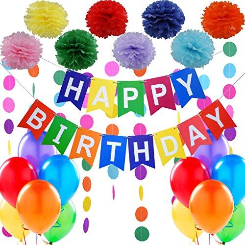 """Decorazione Festa di Compleanno. Bandierine di Buon Compleanno """"Happy Birthday"""" + Set di 8 Pompon a fiore + 2 Festoni Arcobaleno di 3 m + 12 Palloncini Perlati. Idee per decorare di Jonami"""