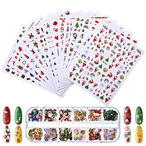 3000 Pieces Christmas Nail Art Stickers and Christmas Sequin 3D Nails Glitter Flakes Wood Chips, Self-Adhesive Nail Decals Snowflake Tree Santa Nail Stickers for Fingernail Toenail Decoration