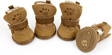 URBESTDetachable Closure Puppy Dog Shoes Booties Boots Brown 2 Pairs