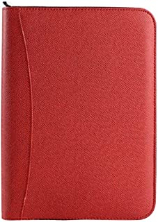 Aimeio PU Leather Cover A5 Zipper Business Notebook Spiral Bound Loose-Leaf Notepad 6 Ring Portfolio Planner Notebook Travel Journal Diary Memo Book with Calculator,Card Holder,Red
