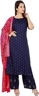 Kurtivala's Rayon Fabric Kurti With Skirt Set | A Line Latest Kurtis | Golden Printed Worked | With Long Skirt | Printed Dupatta | Long Kurta For Women | Blue & Pink