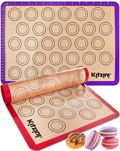 Macaron Silicone Baking Mats  Two Half Non Stick Sheet Mats  Large BPA Free Professional Grade Liner Sheets  Perfect Mat for making Cookies Macaroons Bread and Pastry