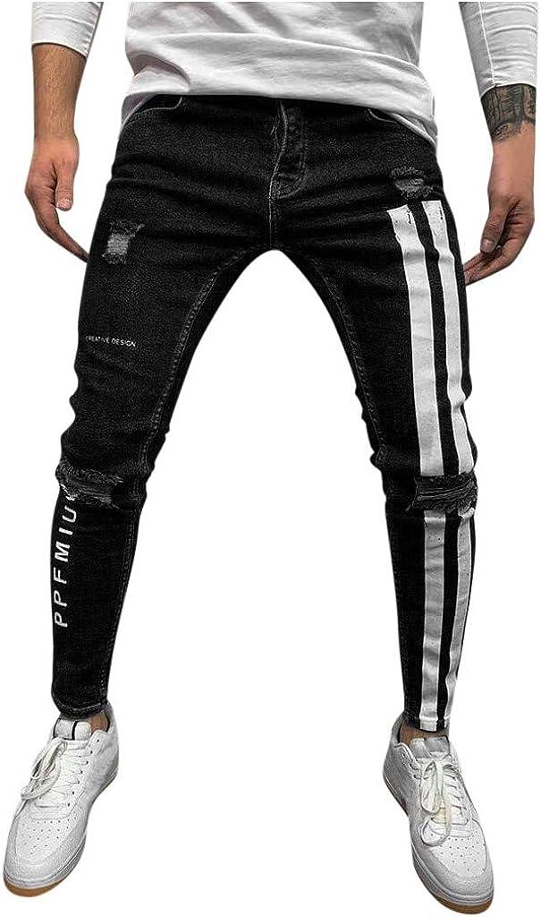 Holzkary Men's Skinny Jeans Stretch Destroyed Ripped Tapered Leg Jean Printed Zipper Denim Pants