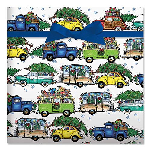 Christmas Vacation Jumbo Rolled Gift Wrap - 1 Giant Roll, 23 Inches Wide by 35 feet Long, Heavyweight, Tear-Resistant, Holiday Wrapping Paper