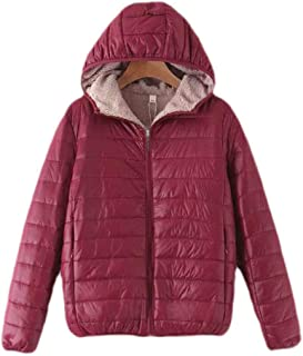 UUYUK Women Winter Hoodie Long Sleeve Outerwear Fleece Quilted Hoodies Down Coat