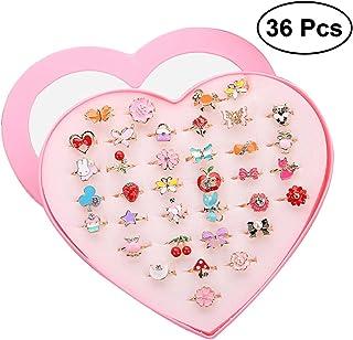 be42ef614d TOYMYTOY Los anillos ajustables chispean con la caja de presentación de la  forma del corazón para