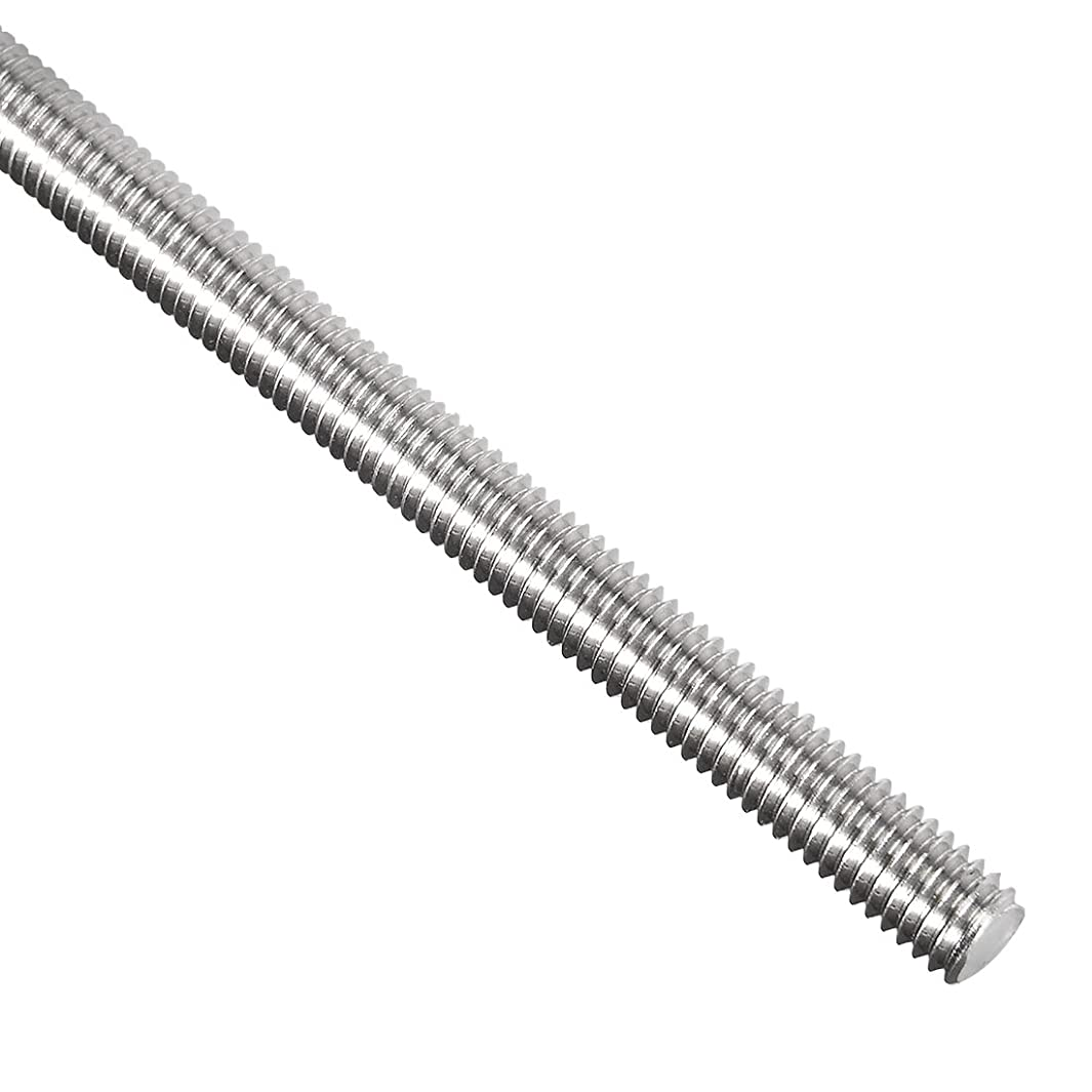 uxcell M6 Fully Threaded Rod, 304 Stainless Steel, 250mm Length, 1.0mm Thread Pitch, Left Hand Threads