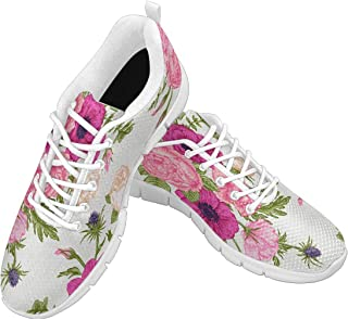 Zenzzle Womens Running Shoes Card with Garden Flowers Print on Casual Lightweight Athletic Sneakers Size US6-12