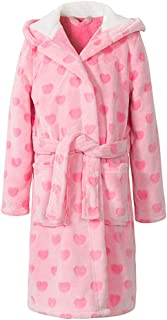 home swee Girls Fleece Bath Robes Toddler Plush Hooded Bathrobes Printed Flannel Sleepwear for Girl