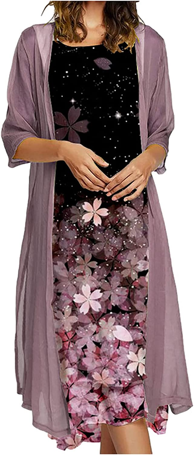 Women Solid Chiffon Two-Piece Set Casual Floral Print O-Neck Sleeveles Dress Crew Neck Plus Solid Color Cardigan Suits