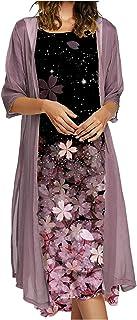Jsarle Maxi Dress for Women Summer 2021 Casual Two Piece Set Plus Size 3/4 Sleeve Floral Long Sundress Wedding Guest
