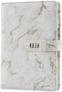 WIOR Journal Notebook, A5 Daily Journal Marble Diary with Lock for Girls PU Leather Diary with Combination Lock Diary Lock...